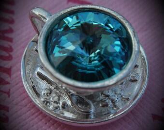 Silver Plated Genuine Swarovski Crsytal Tea Cup Rivoli In Light Turquoise Pendant