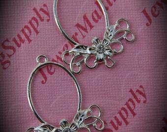 Genuine Silver Plated Swarovski Crystal Oval Chandelier Earrings In Clear