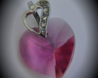 6202 Genuine 18mm Heart Silver Plated Swarovski Crystal Rose Pendant