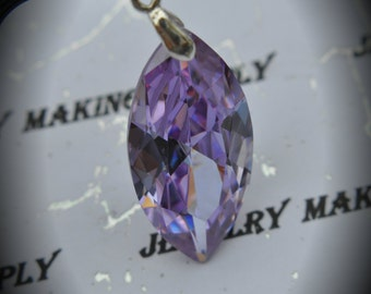 AAA Silver Plated Marquis Pendant With Purple Cubic Zirconia