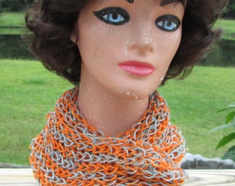 Handmade Knitted Orange and Gray Infinity Scarf