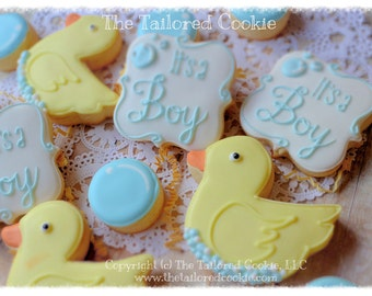 Decorated Rubber Ducky and bubbles; It's a Boy Babyshower Cookies; Shortbread Sugar Cookie Favors Yellow, Blue, White