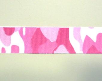 "7/8"" Pink Camo Grosgrain Ribbon 1 yard"