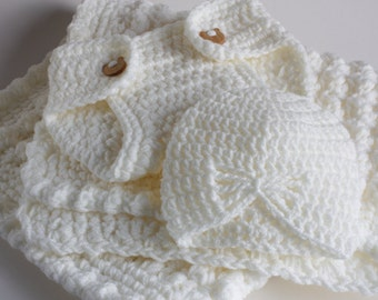 Cream handmade extra thickness crochet baby layette / gift set.   Ideal Christening / shower /new baby  gift.