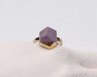Porcelain faceted geo ring - pastel purple, 24k gold luster, geometric jewelry