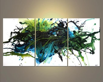 "Modern Original Acrylic Painting, Teal, Green, White Acrylic Abstract by Osnat - MADE-TO-ORDER - 72""x36"""