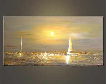"48"" x 24"" Gray Sailboat Painting Abstract Seascape Original Acrylic Painting by Osnat - MADE-TO-ORDER"