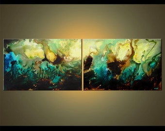 "Original Contemporary Teal Turquoise Abstract Painting Large Acrylic Painting by Osnat - MADE-TO-ORDER - 72""x24"""