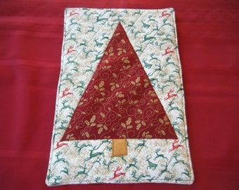 Red Christmas Tree Quilted Hot Pad/Trivet - All HANDMADE BY ME