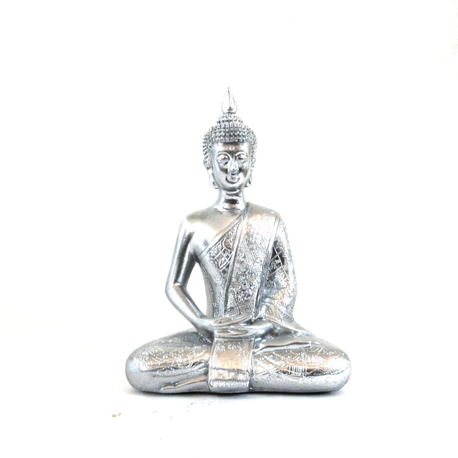 Https Etsy Com Listing 160886440 Buddha Statue Metallic Silver Chrome