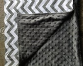 Minky and Cotton Baby Blanket, Personalized baby blanket, Grey Chevron print blanket