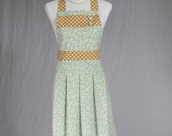 Cute Chic Women's Handmade Full Dusty Teal and Gold Hostess Apron With Polka Dots, Buttons and Pleats