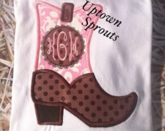 Monogrammed cowgirl boot embroidered western shirt