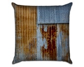 """Rusty Tin Shed - Original Photo Sofa Throw Pillow Envelope Cover for 18"""" inserts"""