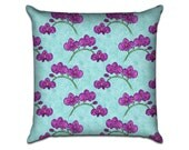 """Orchids - Original Pattern Sofa Throw Pillow Envelope Cover for 18"""" inserts"""