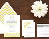Chevron Wedding Invitation - Printed Set - Printables - DIY Print at Home