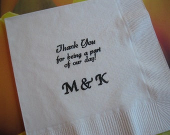 50 PAPER WEDDING NAPKINS Personalized Paper Napkins Cake Table Napkins Wedding Reception Napkins Wedding Cake Table Mr. and Mrs. Initials