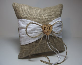 Personalized Rustic Burlap Ring Bearer Pillow With White and Lace Sash
