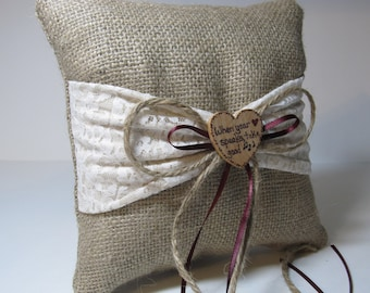 Rustic Personalized Burlap Ring Bearer Pillow With Ivory and Lace Sash For Your Woodland Wedding - Shown with Burgundy Ribbon