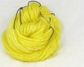 Lemon yellow -  Hand  spun yarn. Leicester longwool (English Leicester) single. hand dyed, Pure Australian  wool.