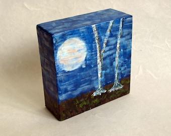 Nightfall Over Birchwood by Donna Mark // original landscape painting