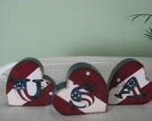Hearts, shelf sitters, USA, patriotic, 4th of July, stars, stripes