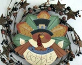 Thanksgiving, turkey on a pip wreath with stars, handpainted, wall hanging/door hanging