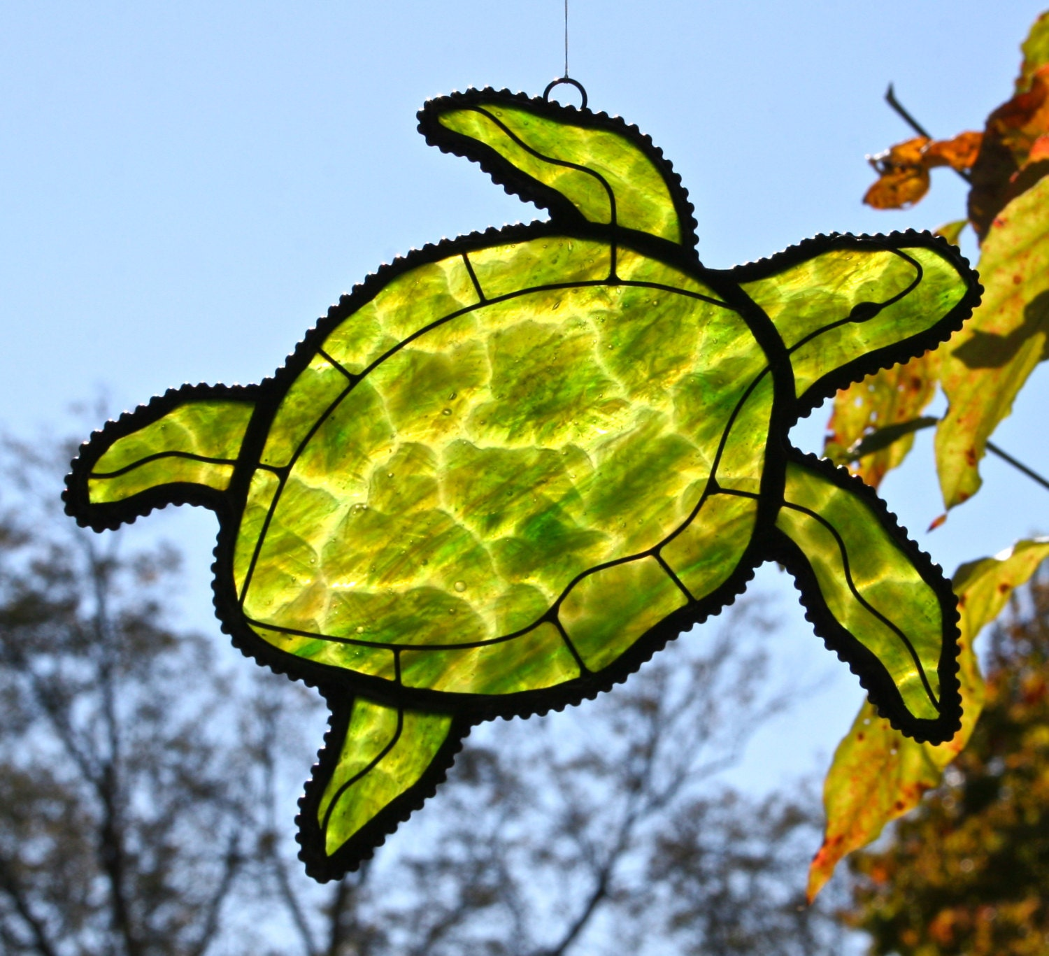 Stained Glass Sea Turtle Suncatcher Forest Green Amp Emerald