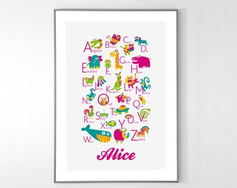 Personalized ENGLISH Alphabet Poster with animals from A to Z, BIG POSTER 13x19 inches