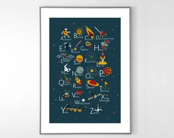 English Space Alphabet Poster from A to Z, BIG POSTER 13x19 inches - Baby Children Nursery Custom Wall Print Poster