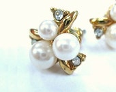 Vintage Earrings White Pearl Clusters, Rhinestones, Gold Leaves Post Earrings