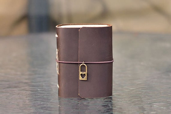 Leather Journal with Heart Lock, I Love You, Cute Pocket Notebook, Mini Diary, Meaningful Gift for Her/Him, Handmade, A7, Brown