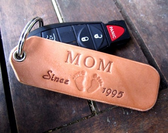 leather keychain, key fob, Mother's Day, key chain for mom,  personalized key chains, great gift for mom