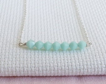 Mint Bar Necklace. Delicate Sterling Silver Necklace With Mint Crystals. Alabaster Mint. Bridal Necklace. Layering Necklace. Dainty Delicate