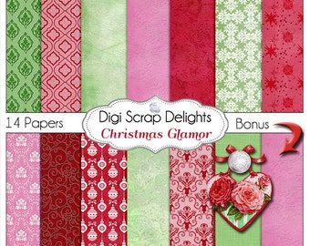 Christmas Papers Red, Green, & Pink Digital Scrapbooking Paper, Grunge, Damask Instant Download