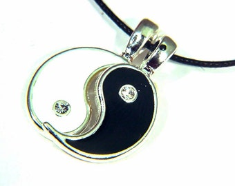 Yin and Yang 2 piece pewter friendship BFF pendant necklace 7250B