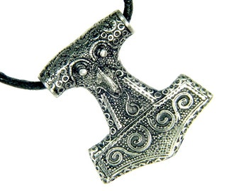 Thor's Hammer Necklace Pewter Pendant Viking Mjollnir Norse  Odin 3303D
