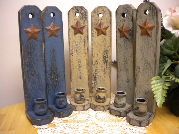 Primitive Wall Sconces Candles : Candle Sconce Pair with Rusty Star Made To by PearcesCraftShop