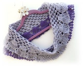 Crochet Lacy Cowl - Crochet Neckwarmer - Lilac Cowl - Winter Accessory