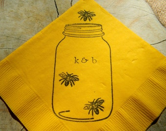 Rustic School Bus Yellow Mason Jar Honey Bee Wedding Personalized Cocktail Napkins with initials- set of 50