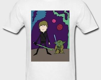 Men's Beanland T-SHIRT - STAR WARS, Luke & Yoda Design - Movie T-Shirt