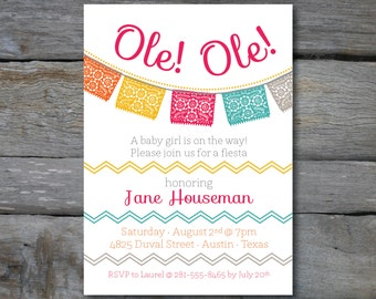 Mexican FIESTA Invite with bunting and chevron stripes