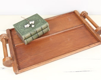 Vintage Tray, Handcrafted wooden serving tray w/ handles