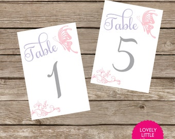 DIY Printable Baptism, Communion, Christening, Birthday Table Number Cards - butterflies and roses