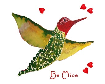 Hummingbird Valentine Card for the Birdlover
