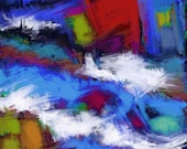 Turbulence Print download Contemporary brightly coloured picture with expressive fluid gestural paint brush marks Modern abstract artwork