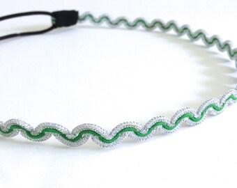 Green and Silver Zig Zag Chevron Headband