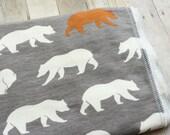STUDIO SALE - Bear Organic Baby Blanket | Woodland Animal Receiving Blanket by JuteBaby