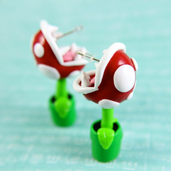 Video game jewelry Piranha Plant earrings inspired from Mario Brothers