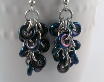 Czech Glass Shaggy Loops Chainmaille Earrings